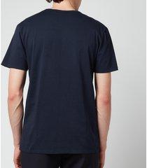 maison kitsuné men's fox head patch classic t-shirt - navy - l