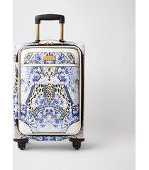 river island womens blue leopard print four wheel suitcase