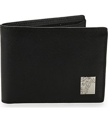 logo plaque saffiano leather wallet