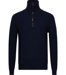 akromos knitwear half zip jumpers blå boss
