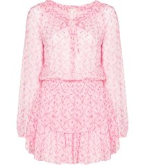 loveshackfancy popover floral print flared dress - pink