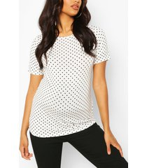 maternity polka dot t-shirt, white