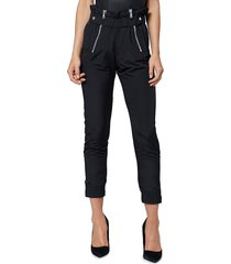 rta women's leon paperbag zip ankle pants - track black - size xs