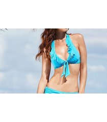 kenneth cole bikini top sz m aqua blue ruffle halter triangle swim bra rs5lb80