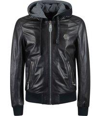 philipp plein leather bomber hoodie