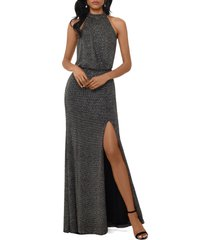 women's xscape halter neck metallic knit evening gown