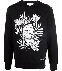 alexander mcqueen skull floral-print crew-neck sweatshirt