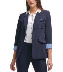 tommy hilfiger contrast utility jacket