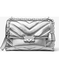 borsa a spalla convertibile cece media in pelle trapuntata metallizzata