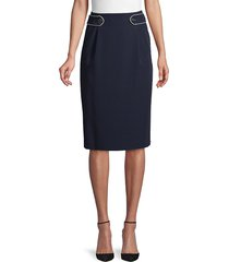 tommy hilfiger women's pyrn side-tab skirt - midnight - size 10