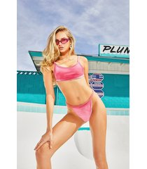 velvet crop high leg bikini, pink