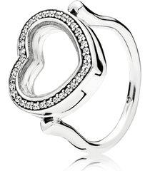 anel pandora floating locket brilhante coração