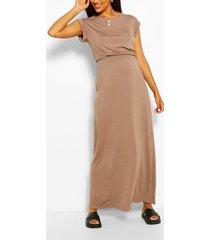 maternity cap sleeve shirred waist maxi dress, mocha