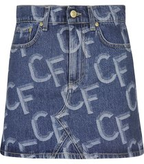chiara ferragni cf pattern denim skirt