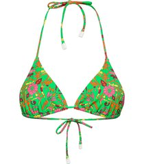 printed triangle top bikinitop grön tory burch