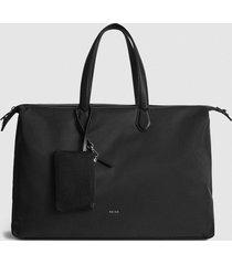 reiss jerome - nylon weekend bag in black, mens
