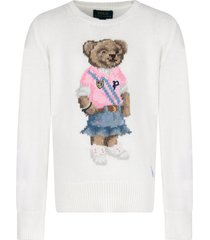 ralph lauren ivory sweater for girl with colorful bear