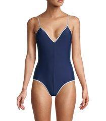 sam edelman women's v-neck one-piece swimsuit - navy - size xs