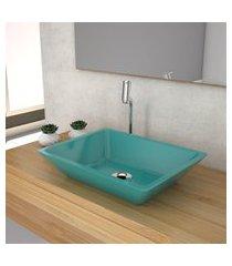cuba de apoio para banheiro compace messina rt45w azul turquesa