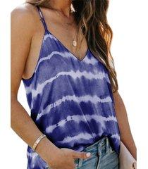 camiseta sin mangas con cuello en v sin espalda con efecto tie dye azul de yoins