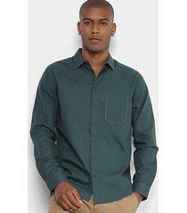 camisa manga longa forum slim fit bolso masculina