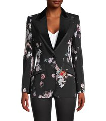 dolce & gabbana women's mixed-print peak lapel wool-blend jacket - size 40 (6)
