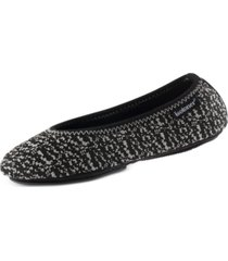 isotoner signature women's knit ballerina slippers with travel pouch