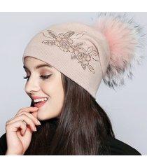 donna caldo fiore di pizzo con berretto a maglia cappello berretto casual esterno antivento orecchio cappello di protezione