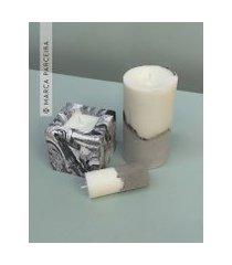 amaro feminino ateliê comcon - kit 2 velas + cubo marmorizado, cinza