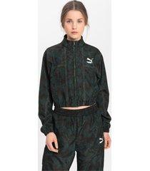 empower soft woven trainingsjack voor dames, groen/aucun, maat l | puma