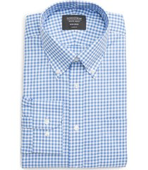 men's big & tall nordstrom classic fit non-iron gingham dress shirt, size 19.5 - 38/39 - blue