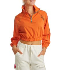 juicy couture women's cropped ripstop half-zip pullover - orange - size xs