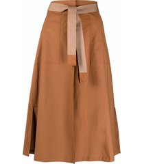 seventy belted a-line skirt - brown