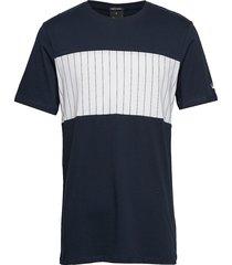 block panel tee t-shirts short-sleeved blå junk de luxe