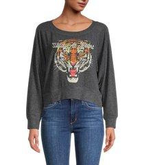 chaser women's wild at heart sweatshirt - grey - size m
