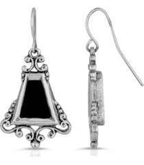 2028 semi-precious black onyx scroll drop earrings