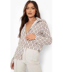 blouse met kettingprint, ivory