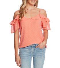 women's cece cold shoulder clip dot blouse, size large - coral
