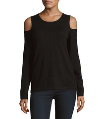 donna karan women's long sleeve cold shoulder top - black - size xs