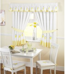 """lemon gingham kitchen embroidered curtains yellow w46"""" x l54"""" inc tie backs"""