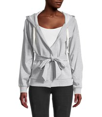 bcbgeneration women's belted hooded jacket - heather grey - size m