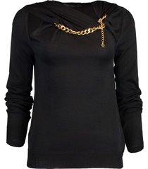 gold chain necklace knit sweater