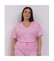 blusa manga curta algodao estampada de estrelas pijama curve e plus size rosa
