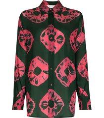zimmermann poppy tie-dye silk shirt - green