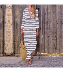 zanzea vestido de manga larga con cuello en v y manga larga para mujer vestidos de fiesta en la playa tallas grandes -blanco