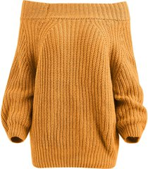 raglan sleeve bare shoulder sweater