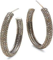black rhodium-plated sterling silver & diamond hoop earrings