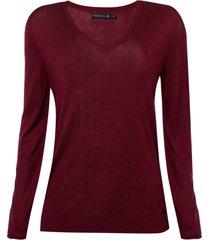 suéter dudalina tricot liso decote v feminino (vinho / wine, egg)