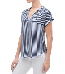 blusa manga corta cuello v azul gap