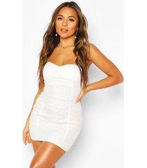 petite mesh bandeau jurk met stippen, wit